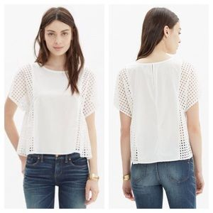 White cotton and eyelet madewell top